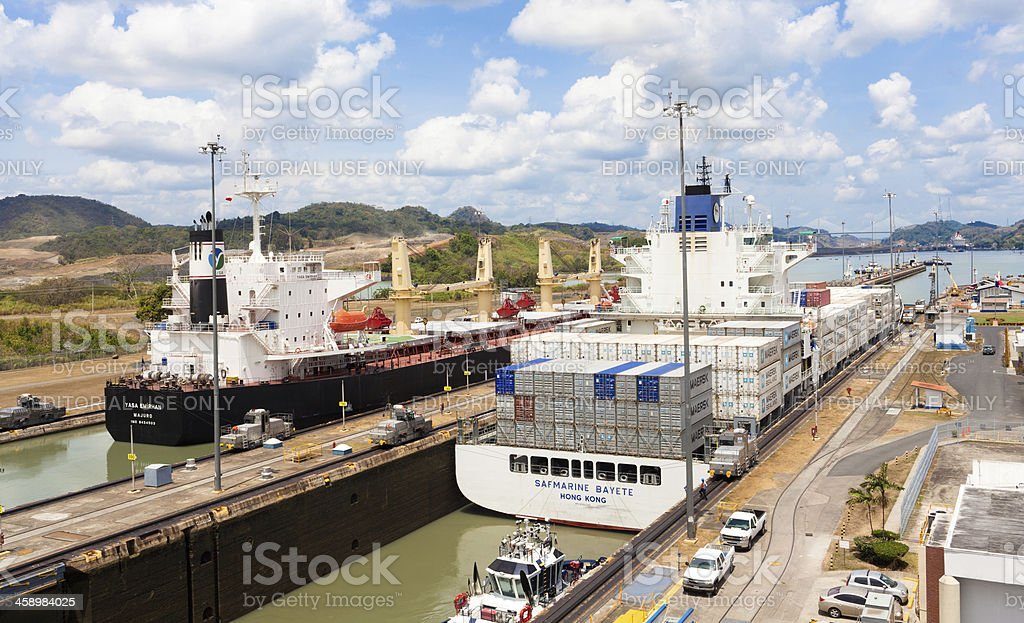 Freighter in the Panama Canal Miraflores Lock stock photo