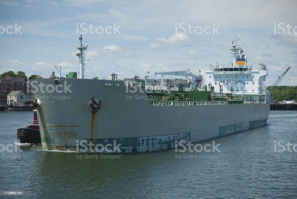 Freighter Leaving the Shipyard royalty-free stock photo