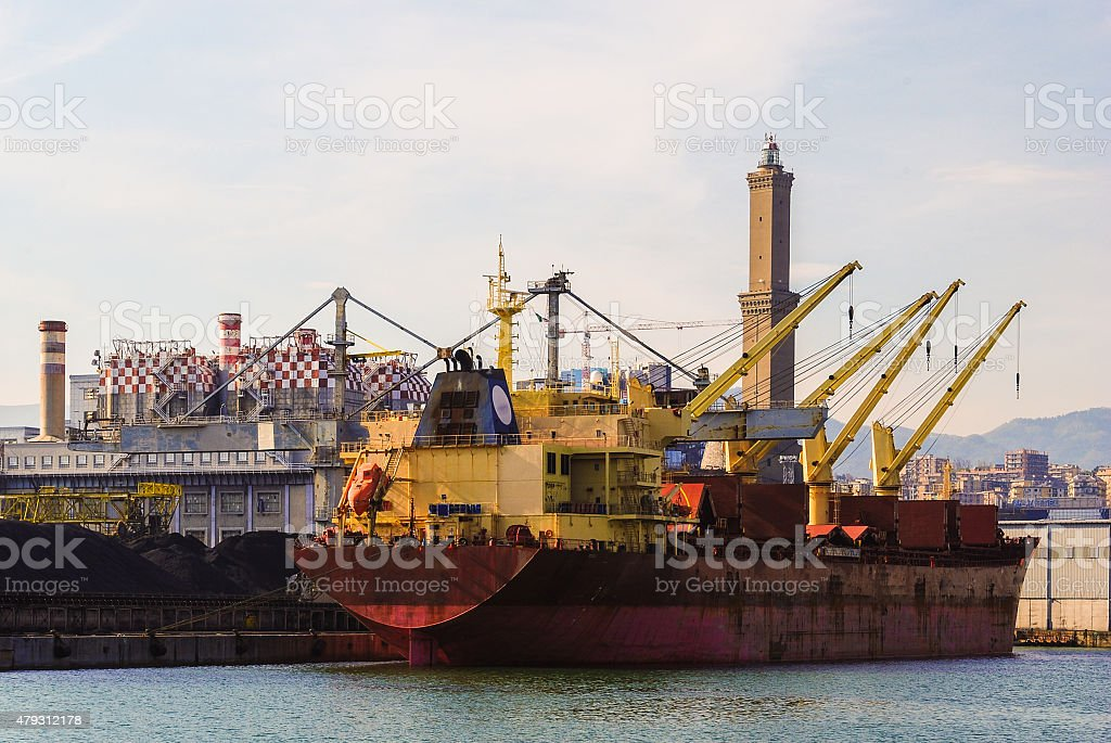 Freighter moored at the dock stock photo