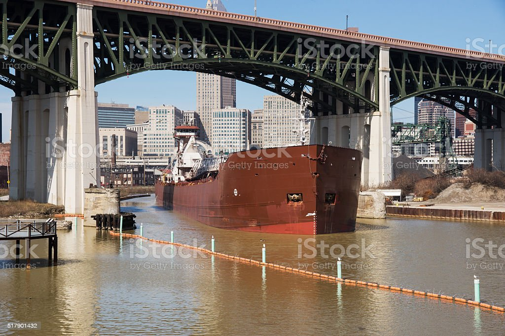 Freighter On The Cuyahoga stock photo