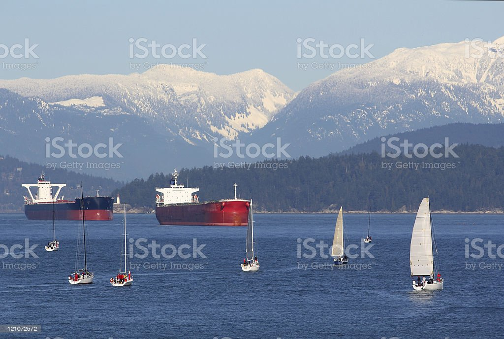 Freighters  and Sailboats, English Bay, Vancouver royalty-free stock photo