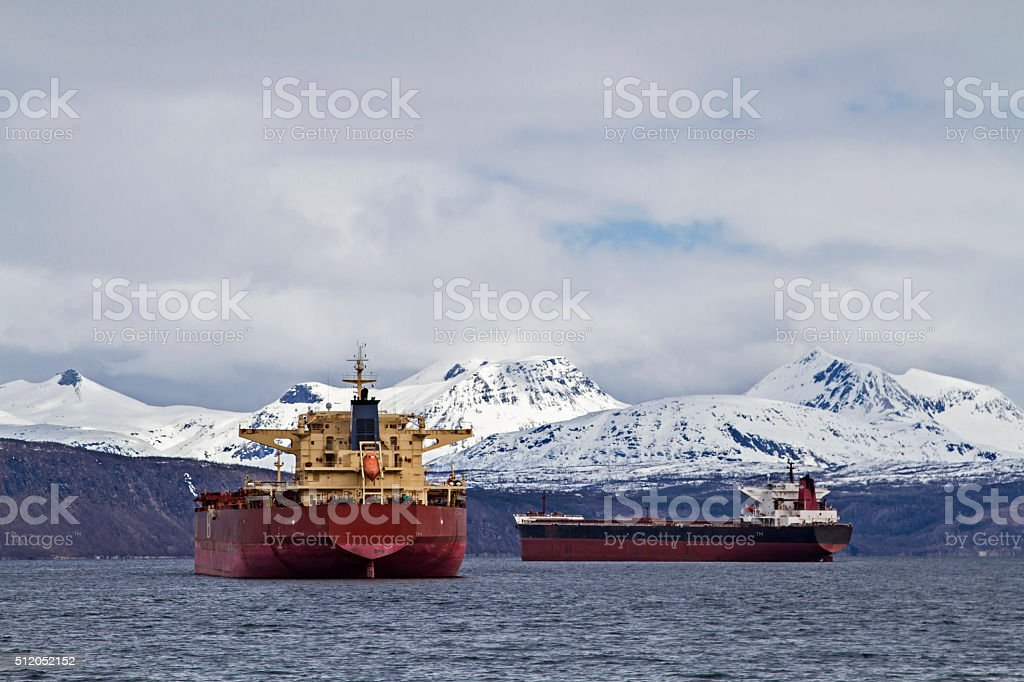 freighters near Narvik stock photo