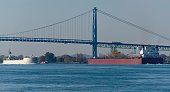 Freighters on Detroit River