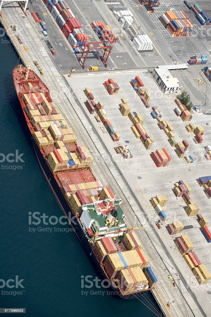 Fremantle port containers from the air stock photo