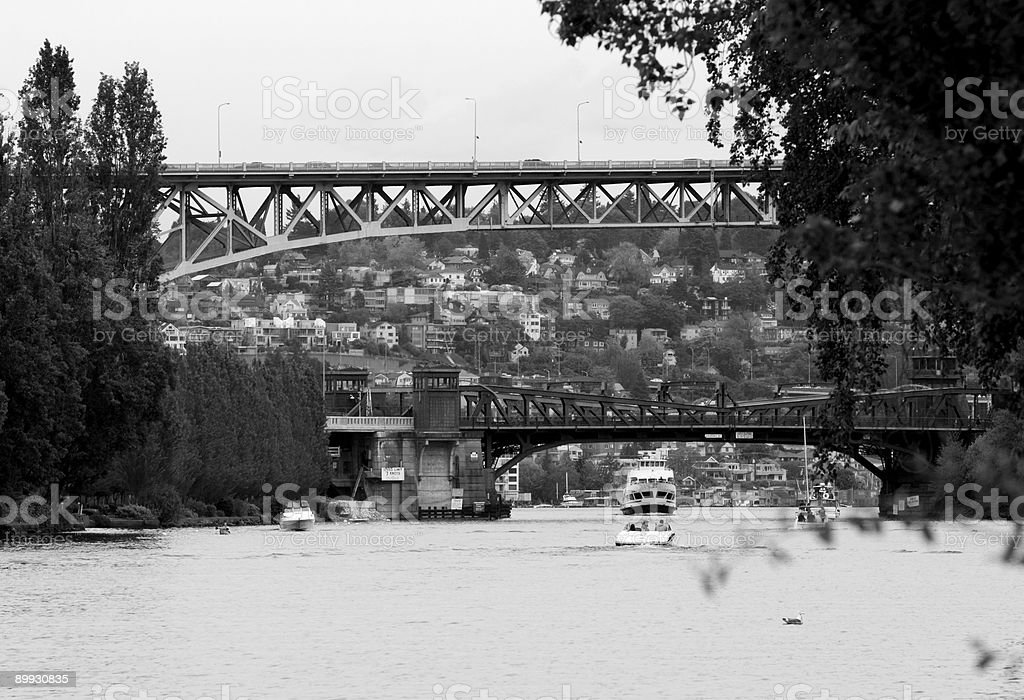 Fremont and Aurora Bridges, Seattle stock photo