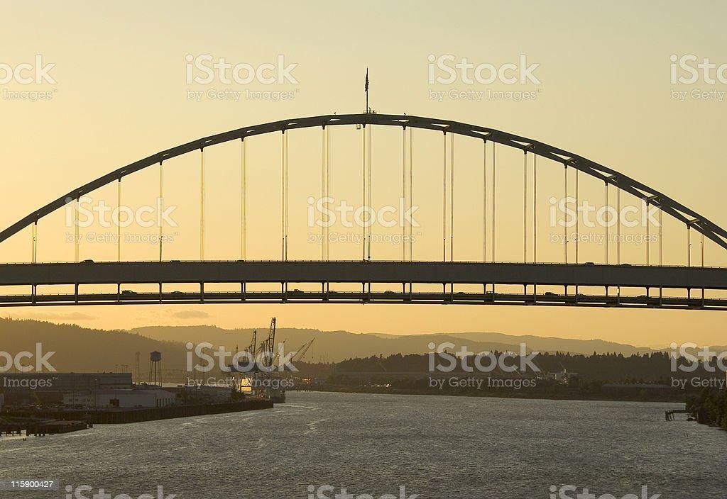 Fremont Bridge at Sunset stock photo