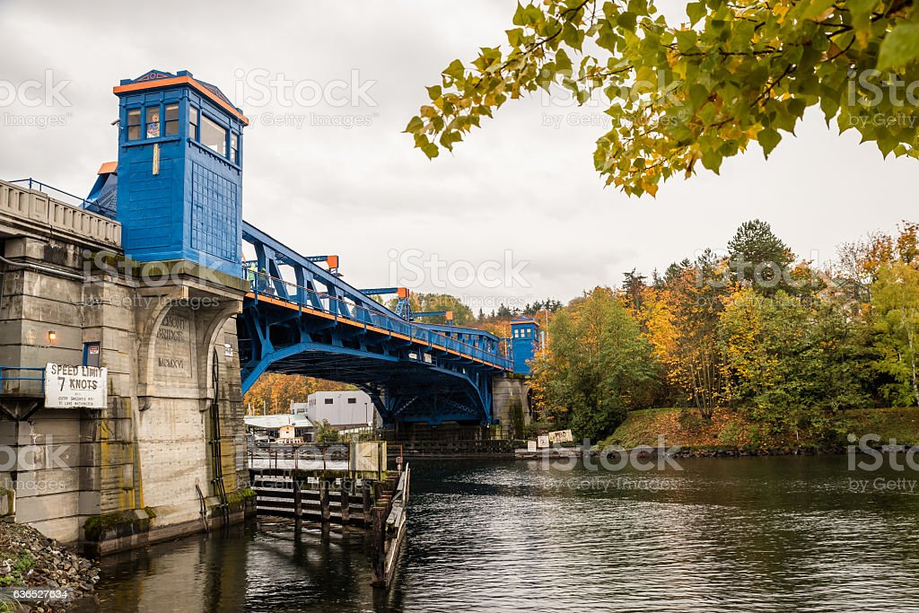 Fremont Bridge in Seattle stock photo