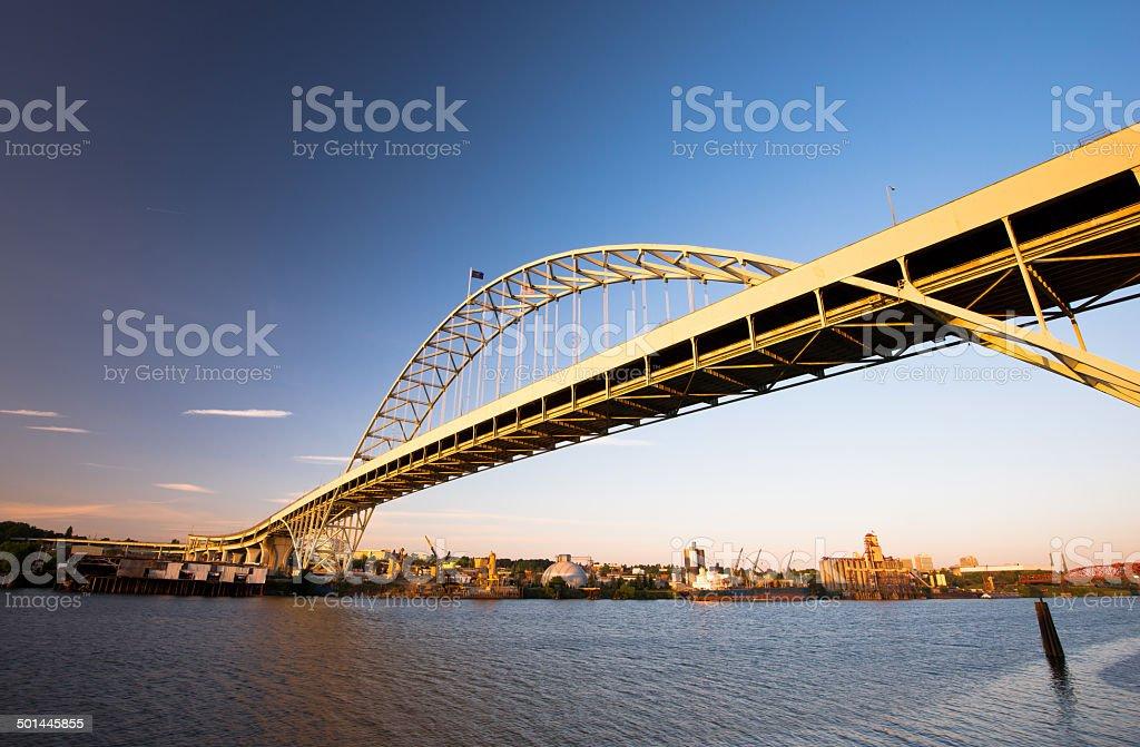 Fremont Bridge largest arch in America Portland Oregon Willamette River royalty-free stock photo