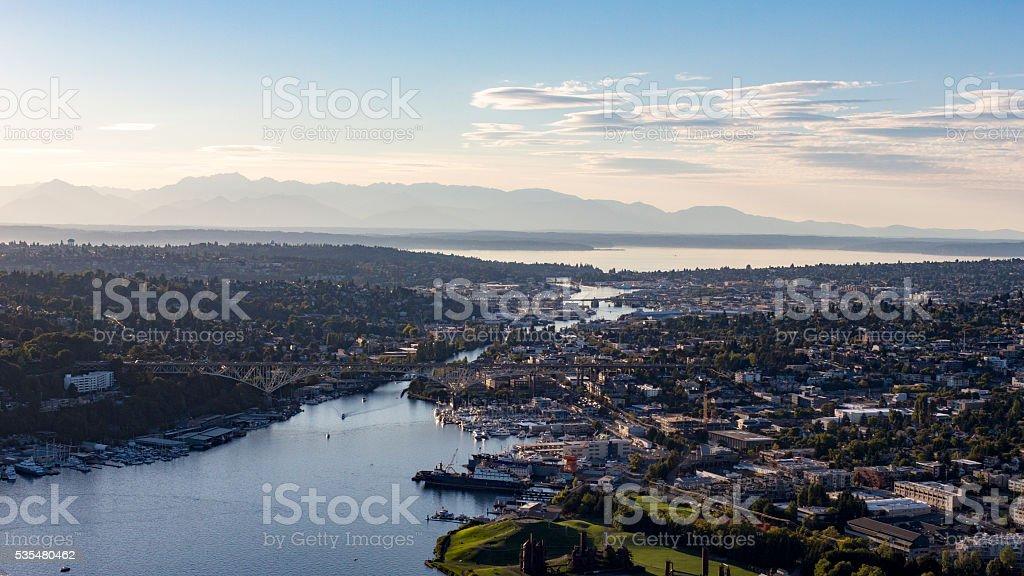 Fremont Cut, Lake Union Ballard Locks, Gasworks Park, Olympic Mountains stock photo