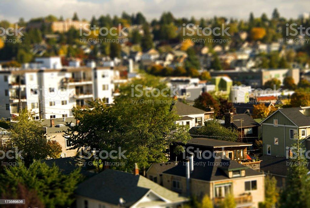 Fremont neighborhood of Seattle, WA with tilt-shift effect royalty-free stock photo
