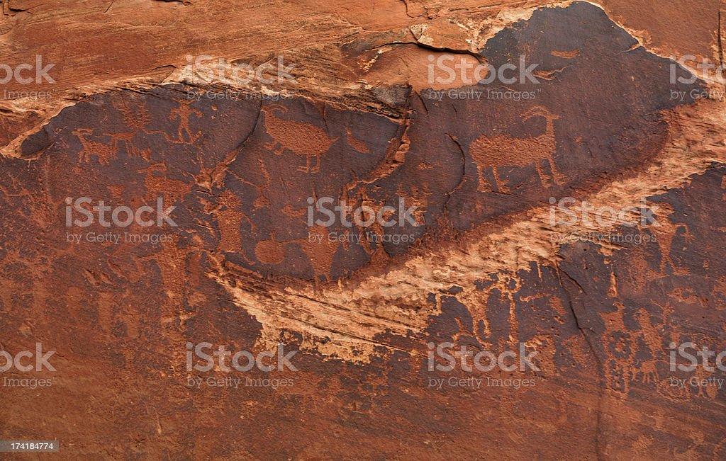 Fremont rock art, ancient petroglyphs, Moab, Utah, USA royalty-free stock photo