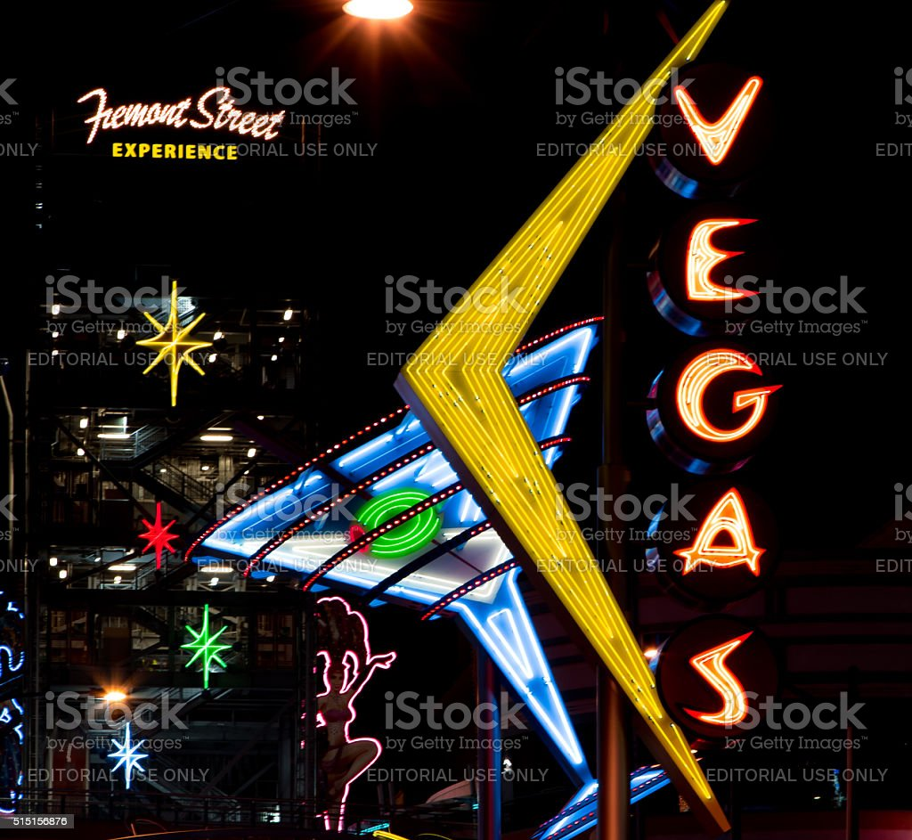 Fremont Street Experience Entrance and Lights stock photo
