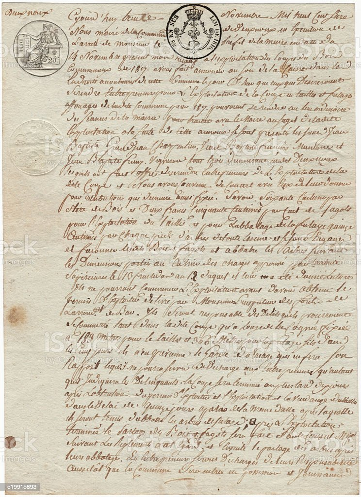 French 1819 document on parchment paper with cursive French writing stock photo
