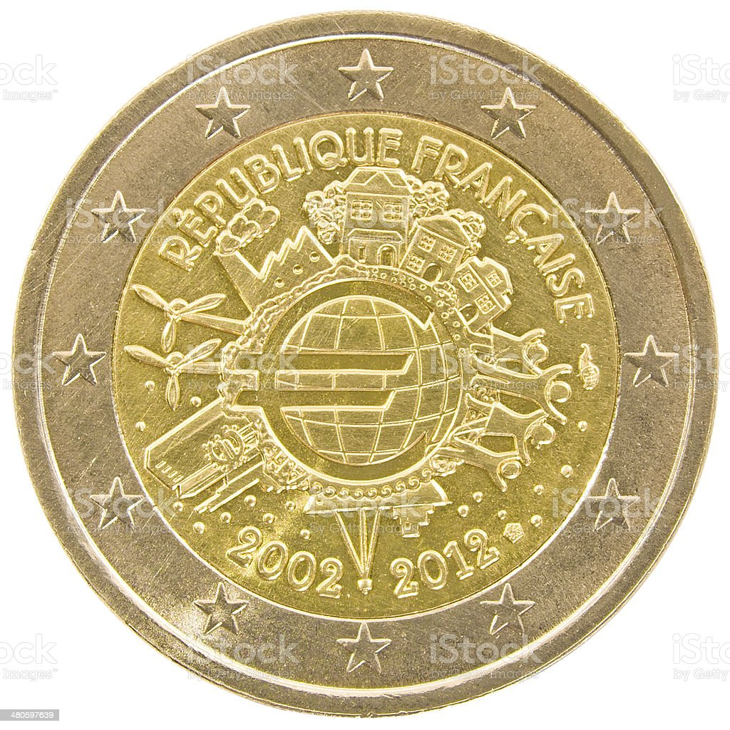 French 2 euro coin. stock photo