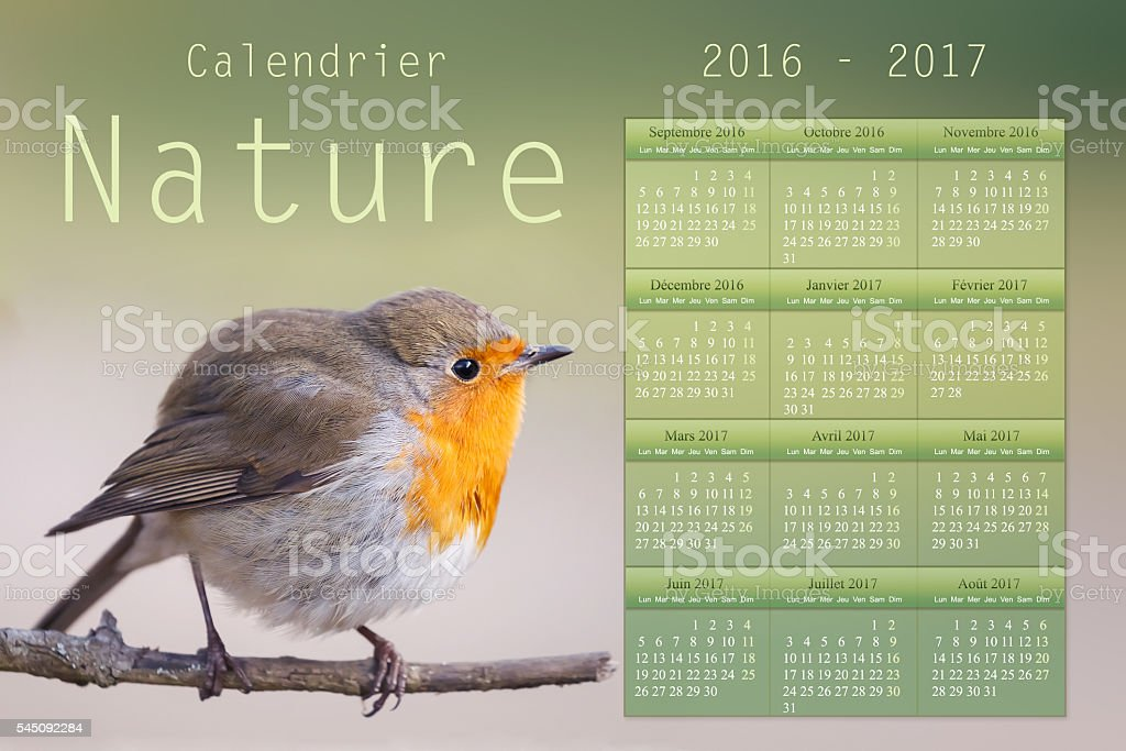 French academic nature Calendar 2016 - 2017 stock photo