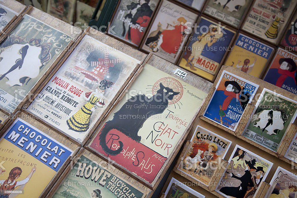French Advertising posters and postcards stock photo