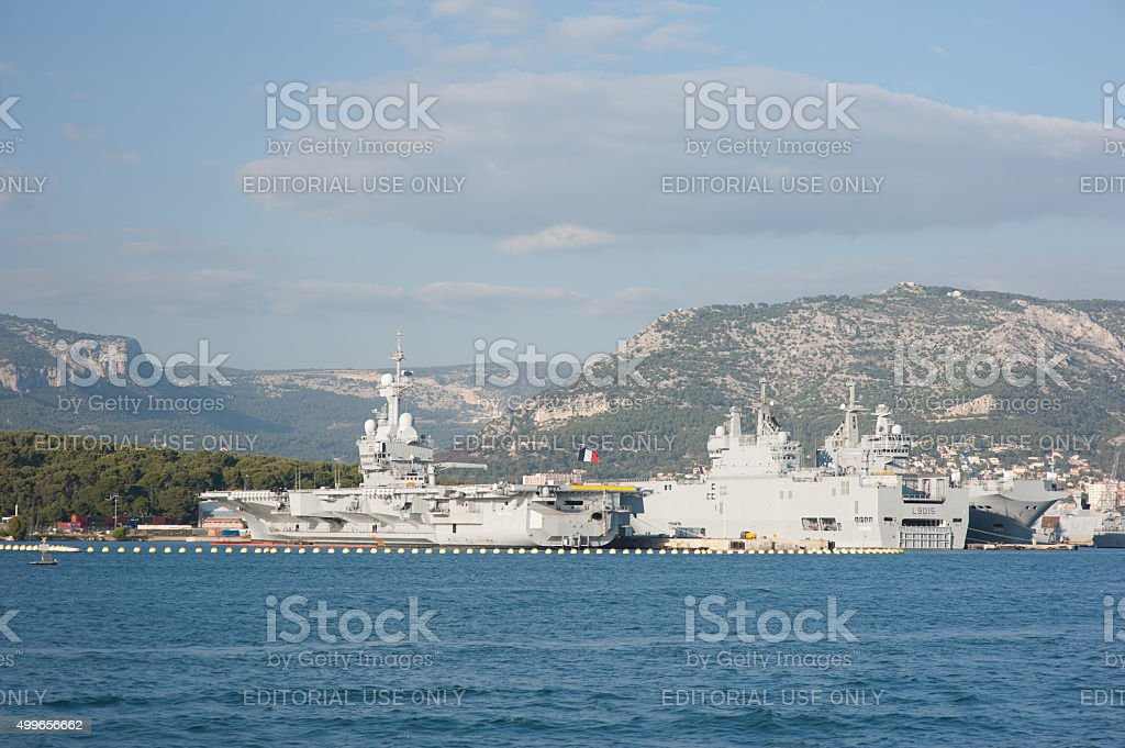French aircraft carrier Charles de Gaulle stock photo