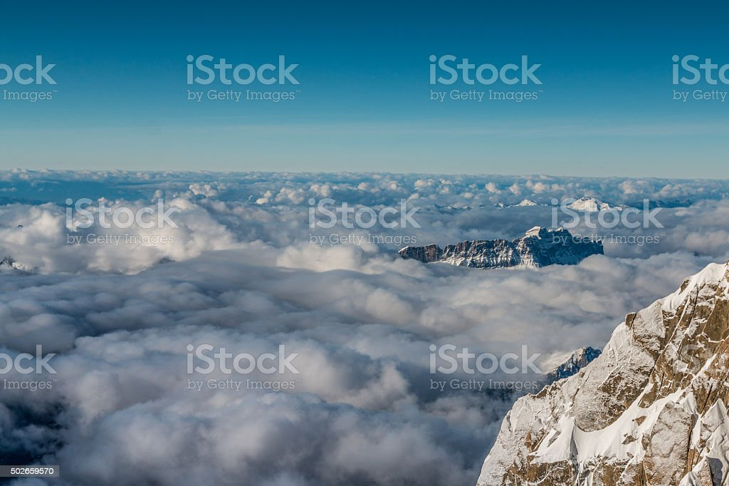 French Alps - Above the clouds stock photo