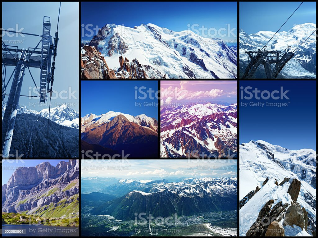 French Alps collage stock photo