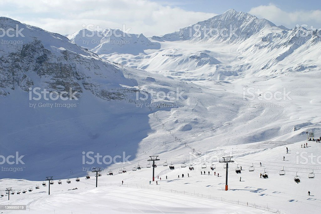 French Alps seen from Val d'Isere - Europe's Top resort royalty-free stock photo