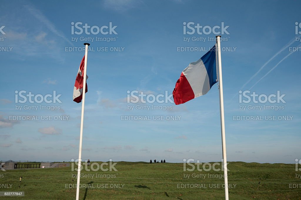 French and canadian flag in Vimy stock photo