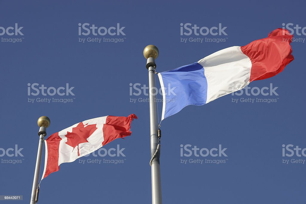 French and Canadian flags royalty-free stock photo