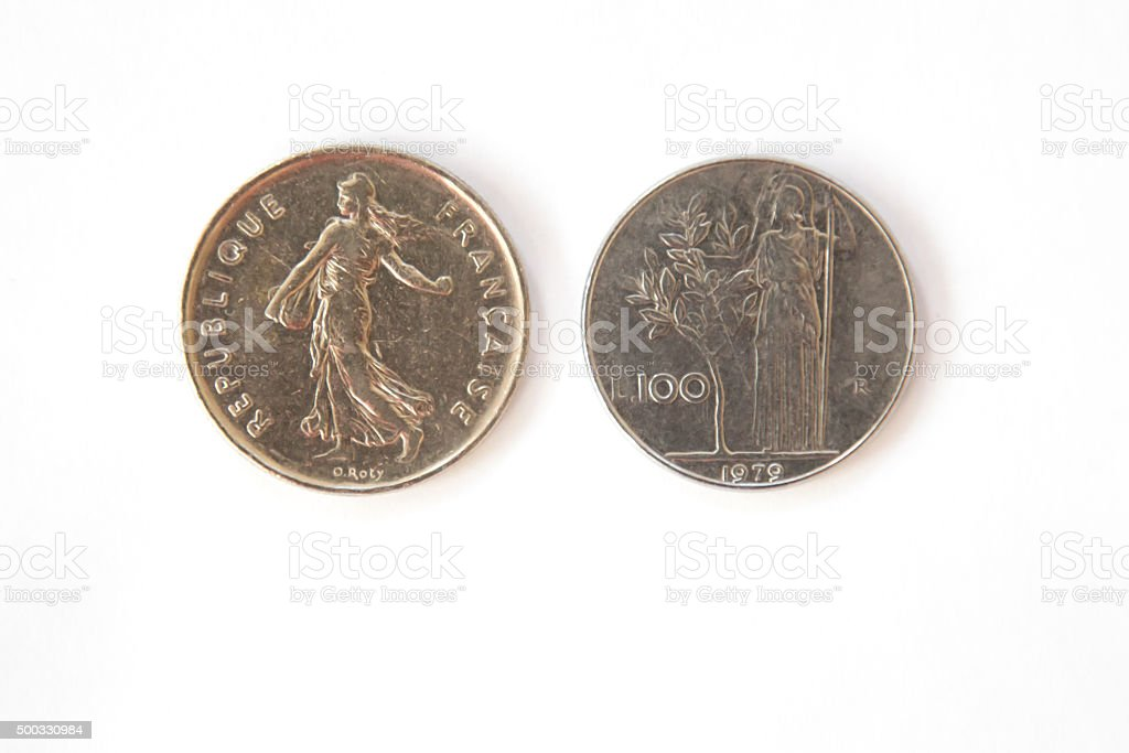 French and Italian coins imprinted with women in togas stock photo