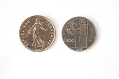 French and Italian coins imprinted with women in togas
