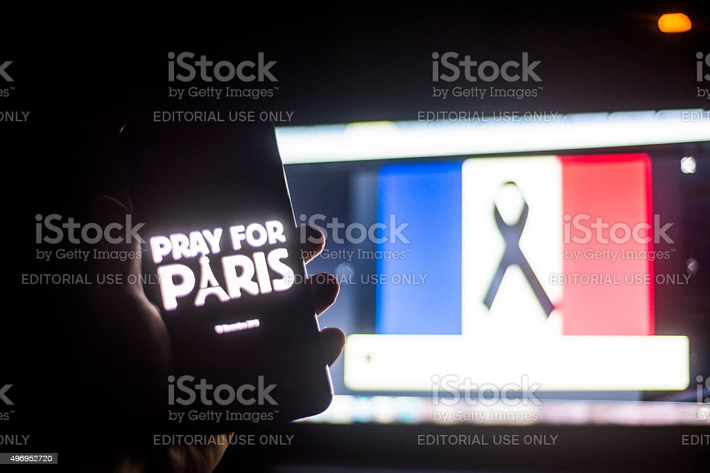 French attacks on social media stock photo