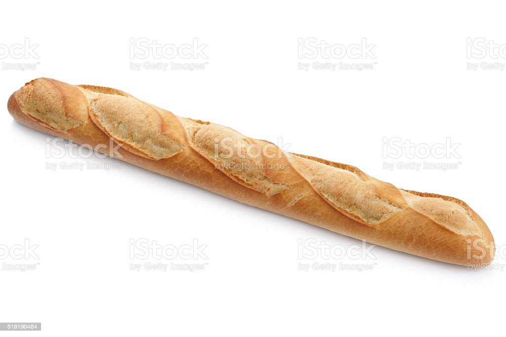 French baguette white bread isolated stock photo