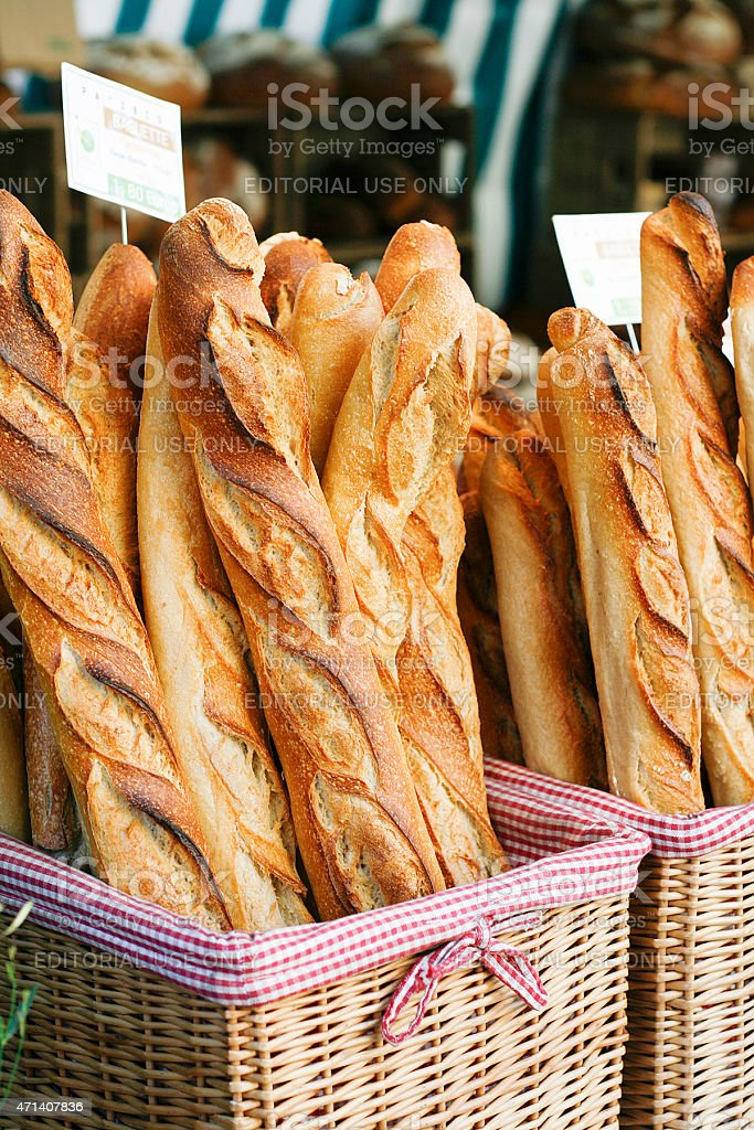 french baguettes at the market stock photo