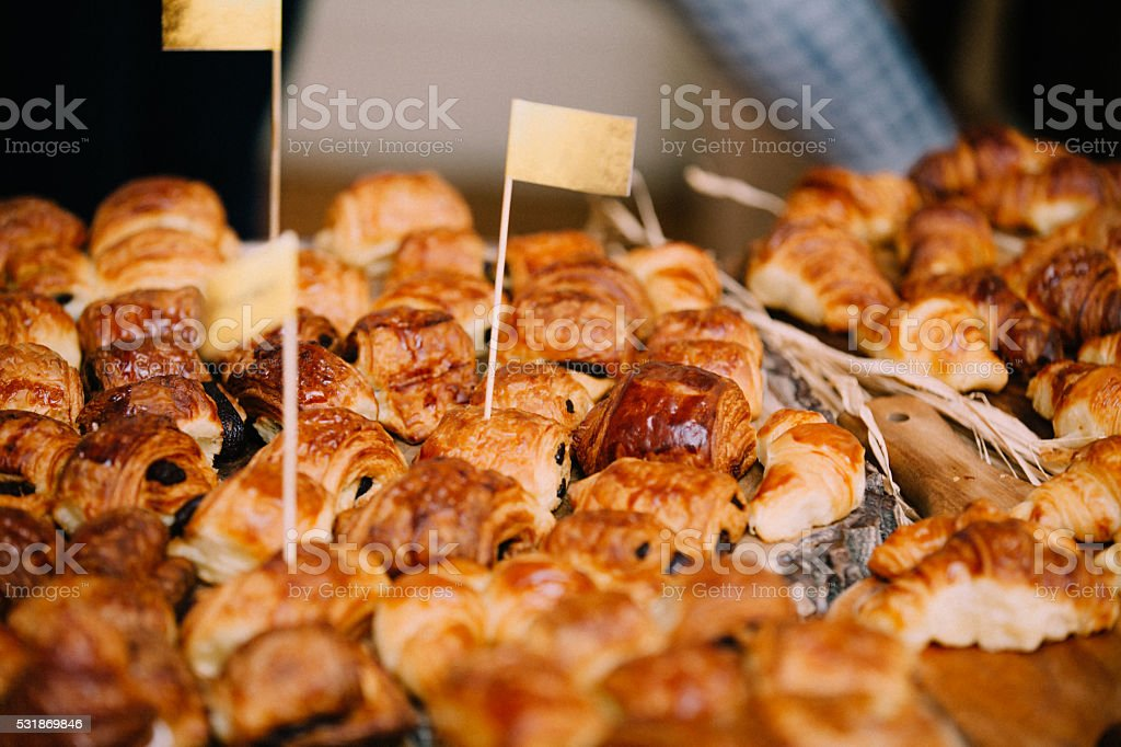 French Boulangerie - Chocolate Croissant stock photo
