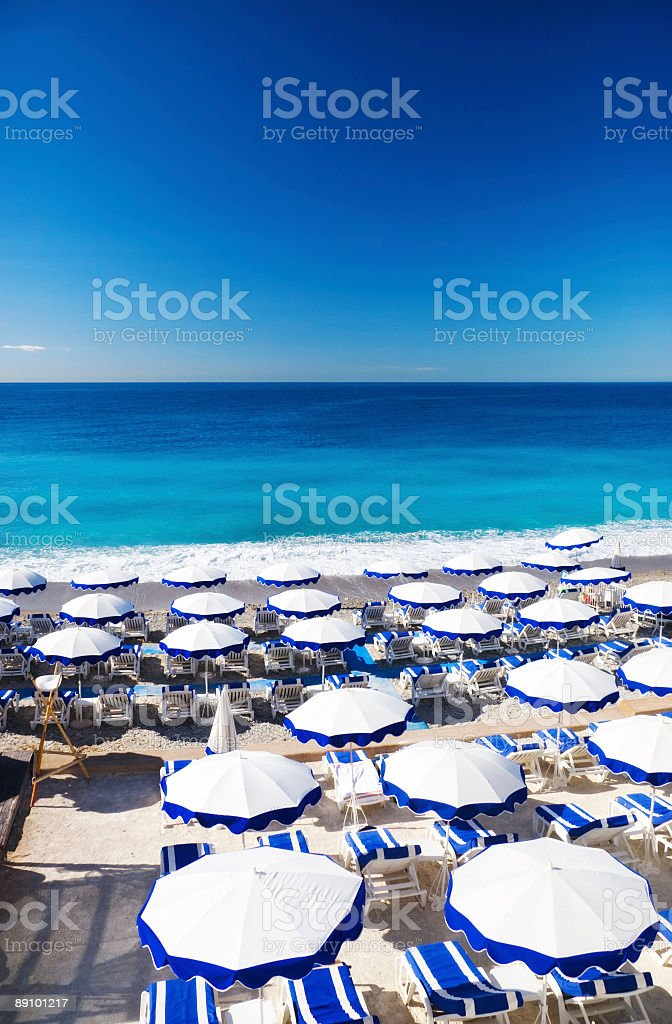 French beach with umbrellas royalty-free stock photo