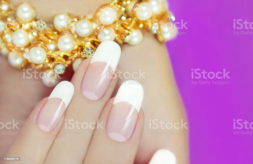 French beautiful manicures. royalty-free stock photo