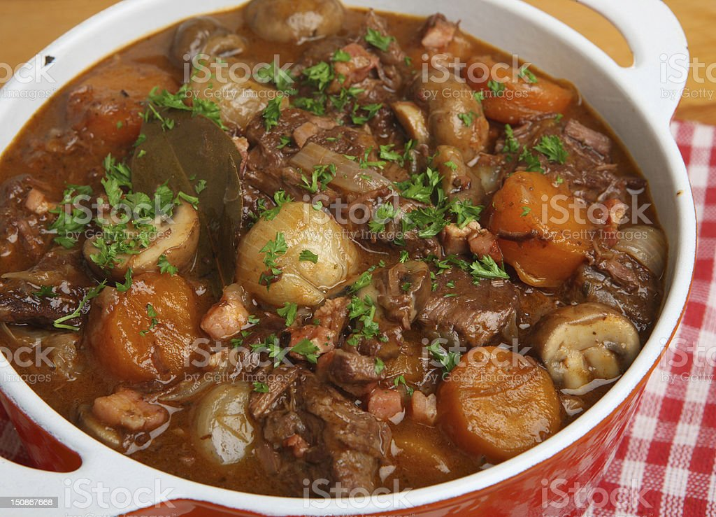 French Beef Bourguignon Stew stock photo