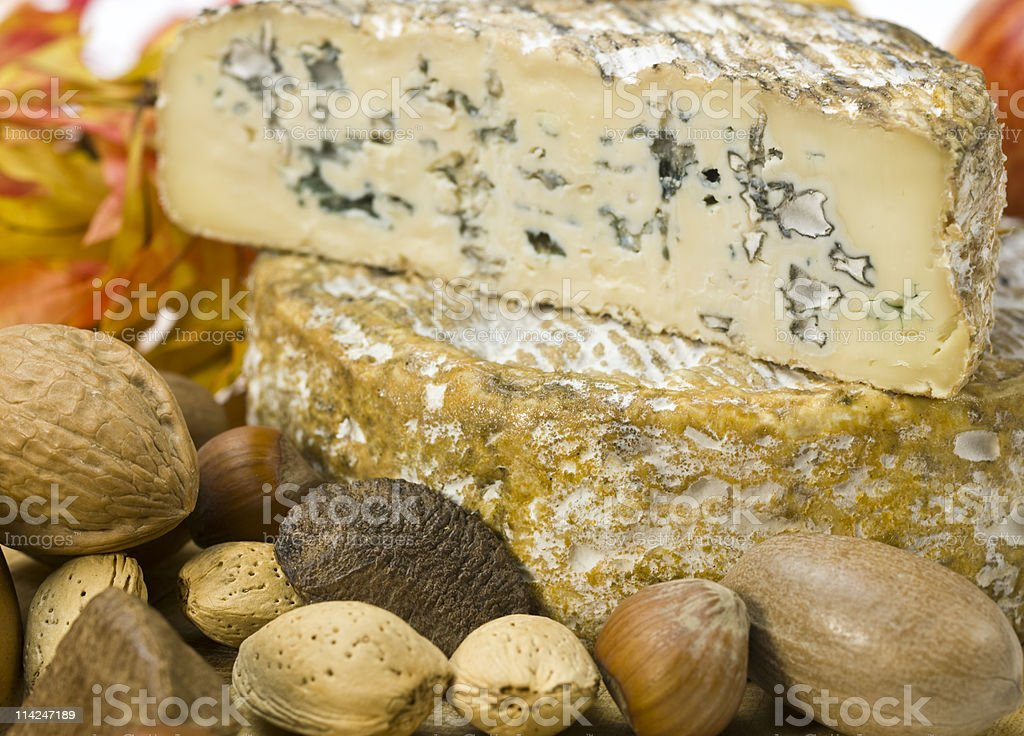 French Blue Cheese and Dried Fruits royalty-free stock photo