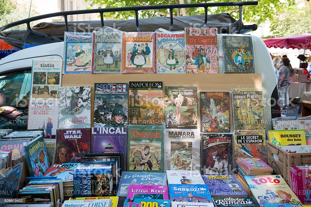 French books for sale at market in Aix-en-Provence stock photo