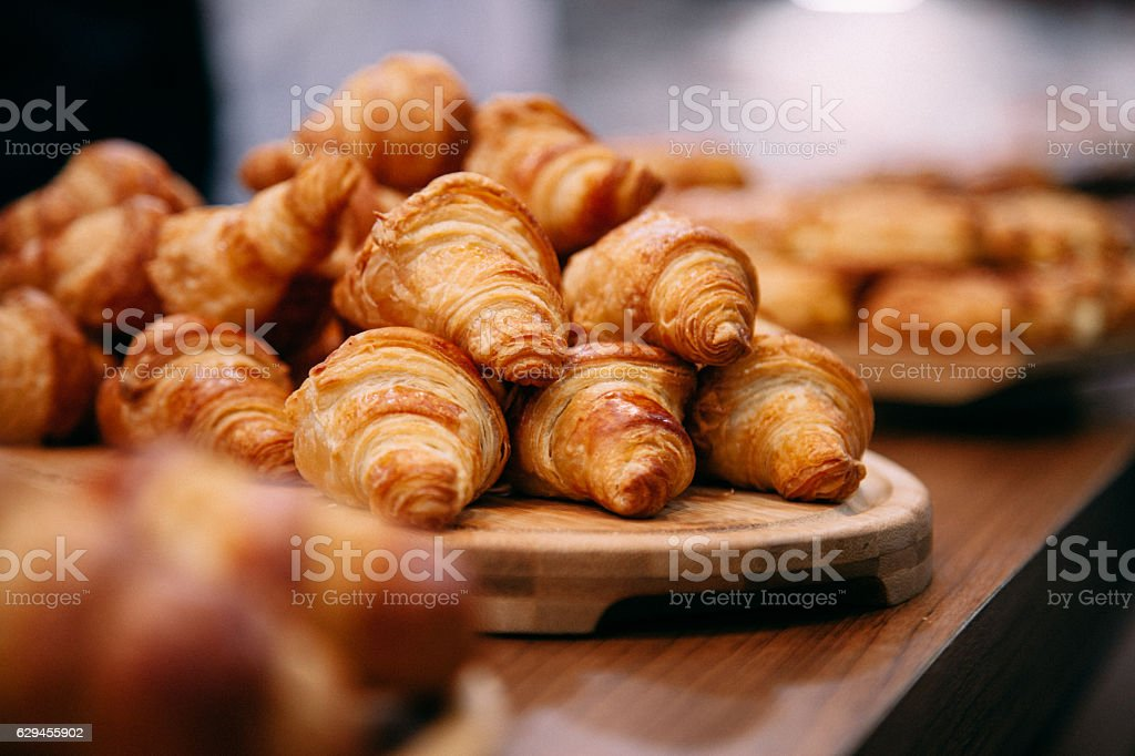 French Boulangerie - fresh croissant for sale stock photo