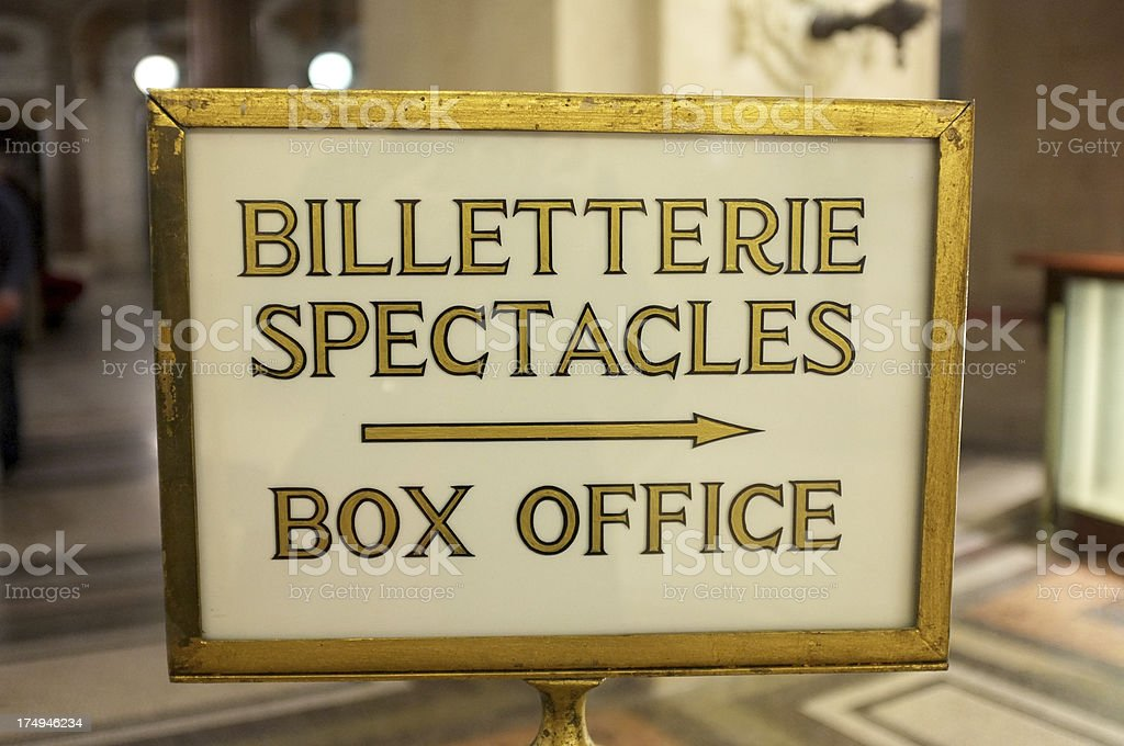 French box office sign royalty-free stock photo