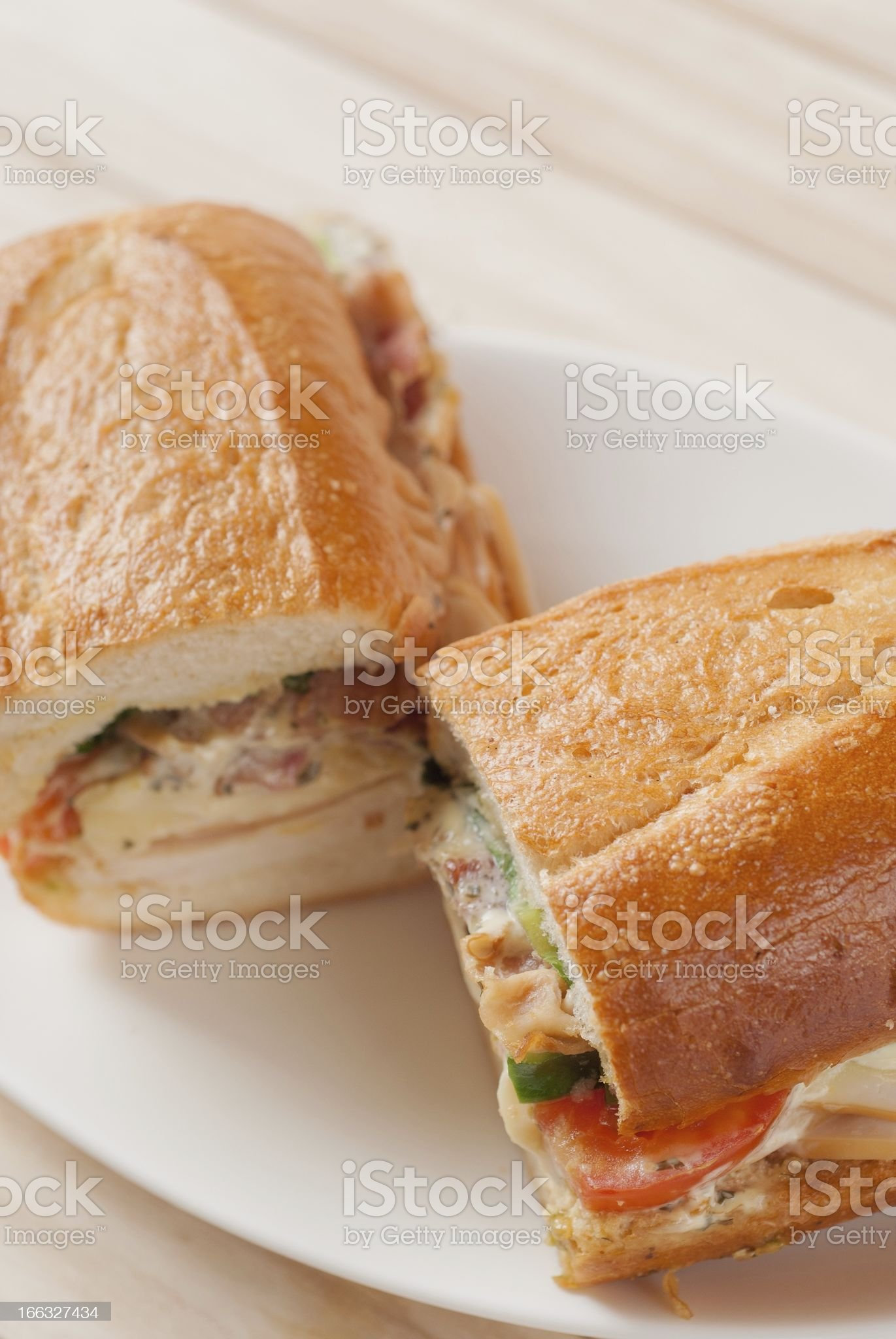 French bread sandwich with smoked chicken and bacon salad royalty-free stock photo