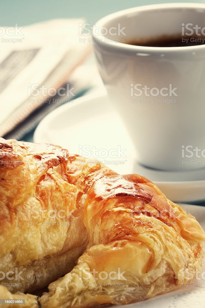 French Breakfast Coffee and Croissant royalty-free stock photo
