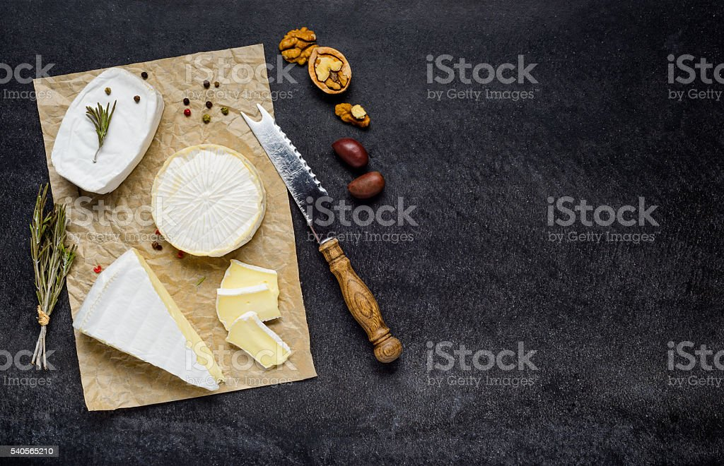 French Brie and Camembert Cheese with Copy Space stock photo
