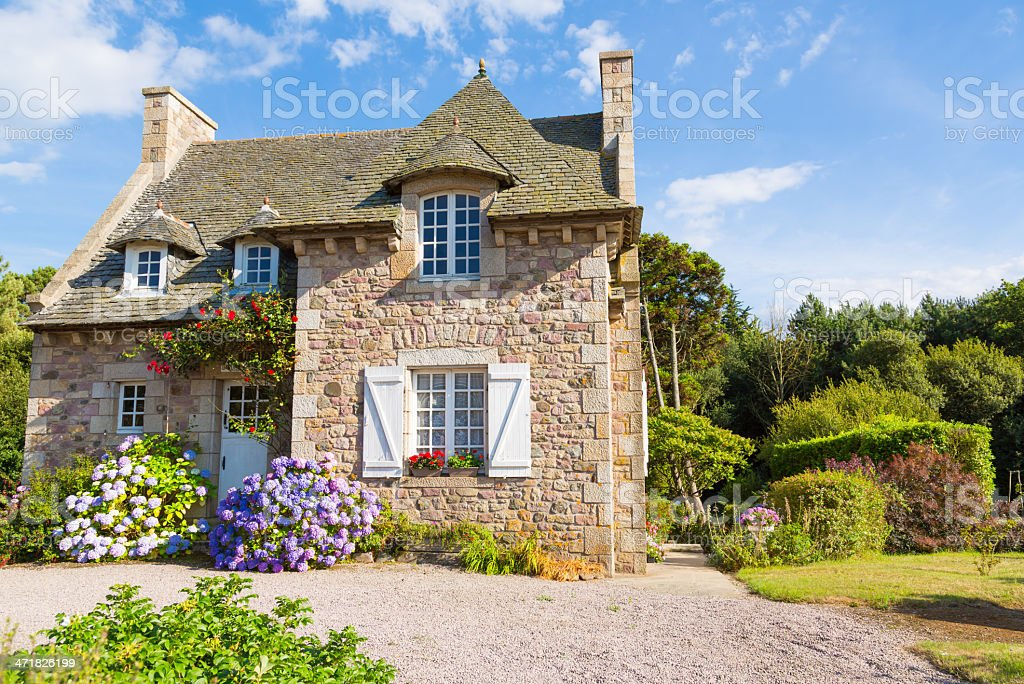 French Brittany typical house stock photo