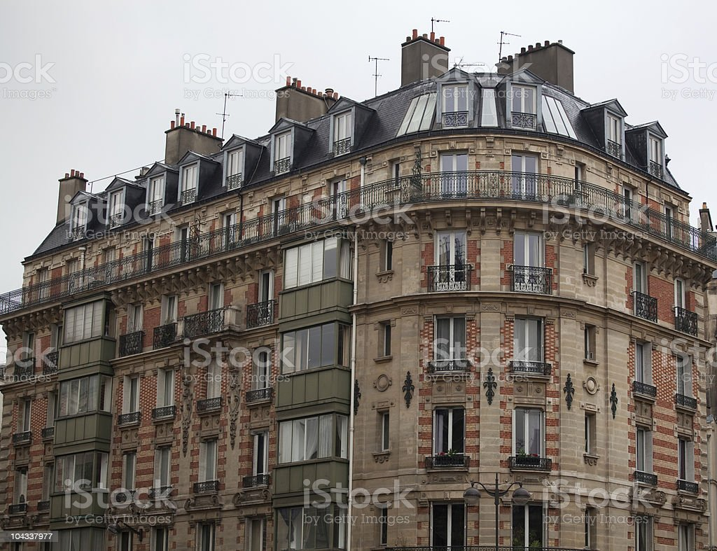 French building corner stock photo