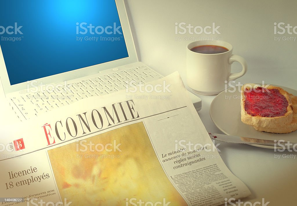 french business breakfast royalty-free stock photo