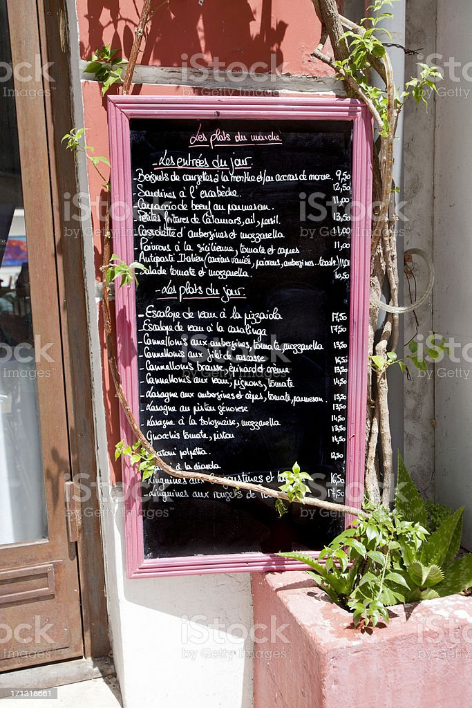 French Cafe Menu in Provence royalty-free stock photo