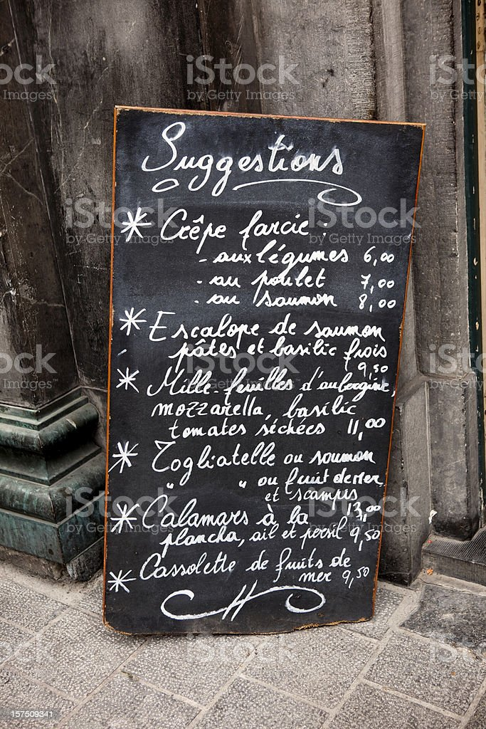 French Cafe Menu royalty-free stock photo