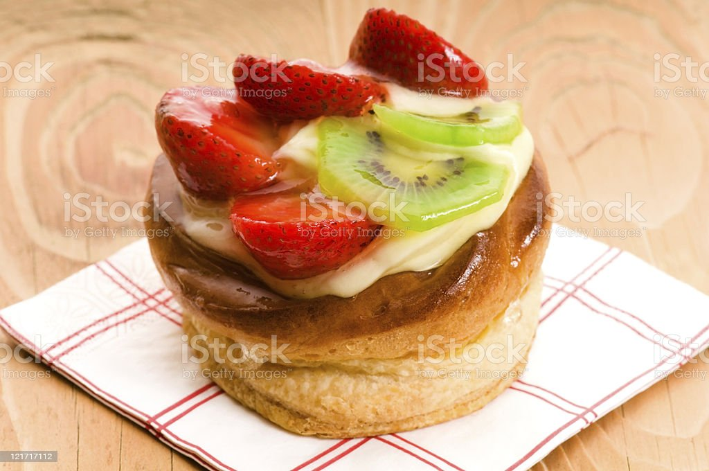 French cake with fresh fruits stock photo