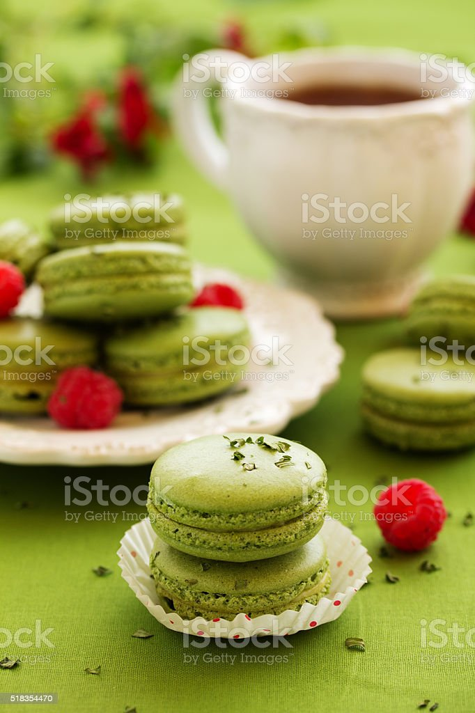French cake with tea makarons match and tarragon. selective focus. stock photo