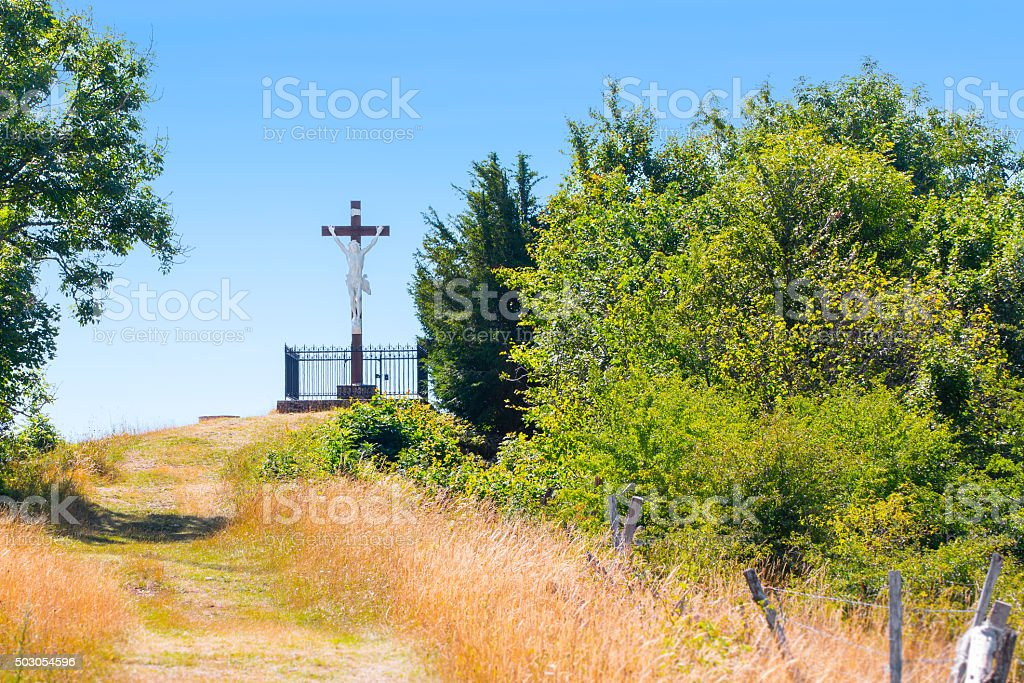 French calvary footpath with crucifixion of Jesus Christ representation stock photo